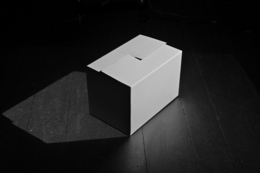 ilan katin - counter.shadow I, Time based Culture consisting of two projectors and 1 cardboard box